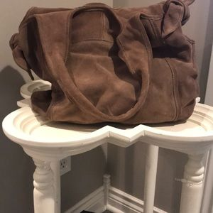 KOOBA latte mocha suede shoulder/hobo bag